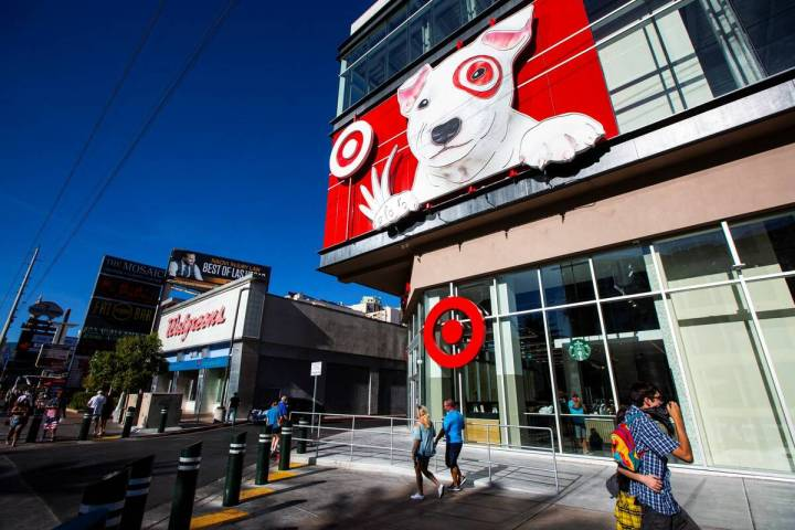 An exterior view of Target on the Las Vegas Strip in Las Vegas on Wednesday, Aug. 12, 2020. (Ch ...