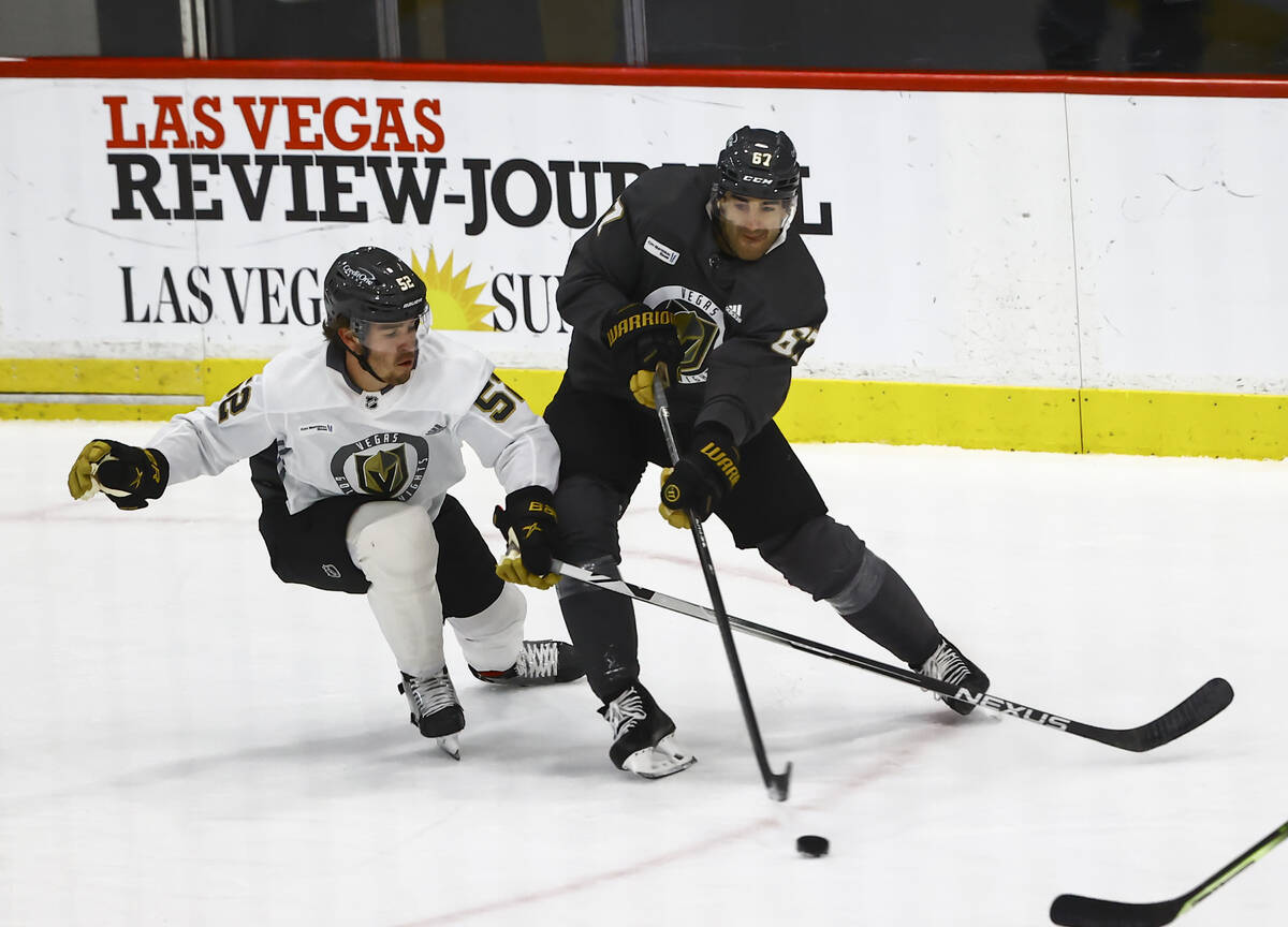 Golden Knights' Max Pacioretty (67) passes the puck under pressure from Dylan Coghlan (52) duri ...