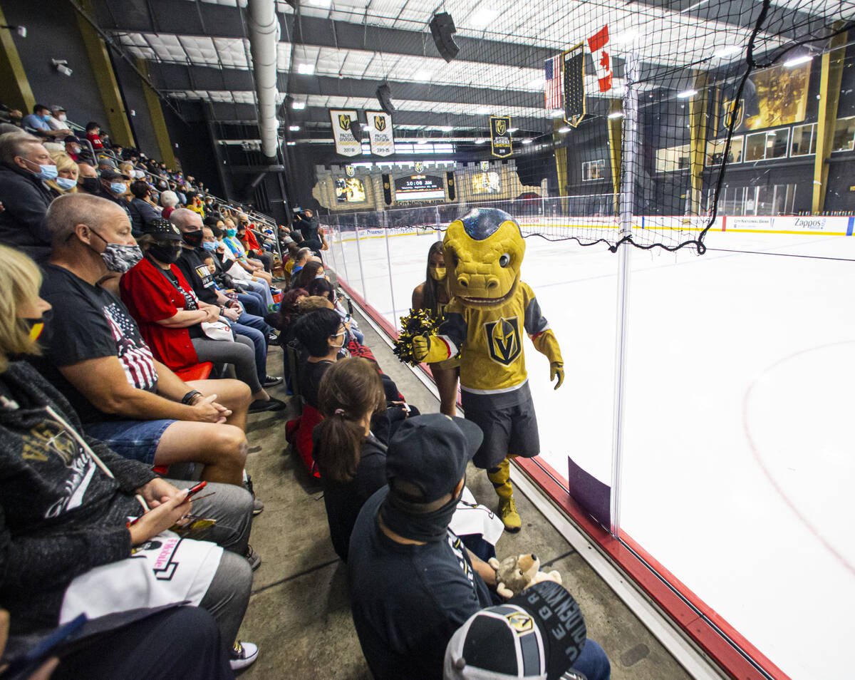 Golden Knights mascot Chance visits with fans during the first on-ice day of training camp at C ...