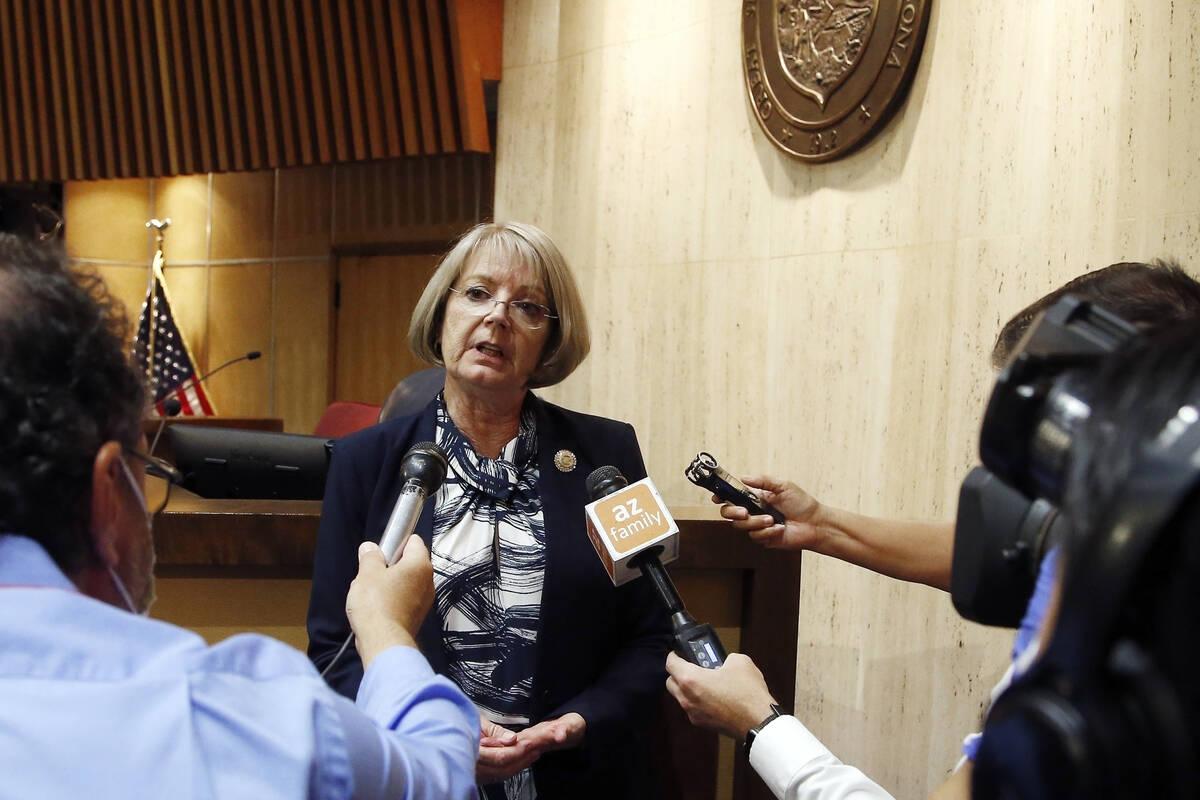 In this May 26, 2020, file photo, Arizona Senate President Karen Fann, R-Prescott, speaks to th ...