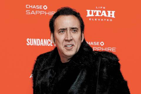 """FILE - In this Jan. 19, 2018 file photo, actor Nicolas Cage poses at the premiere of """"Mandy"""" du ..."""