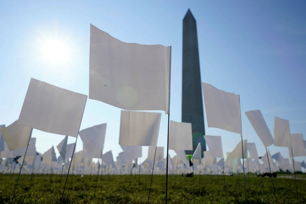 White flags stand near the Washington Monument on the National Mall in Washington, Wednesday, S ...