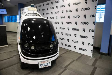 The autonomous vehicle Nuro R2 is showcased during a press conference by Nuro at the Las Vegas ...