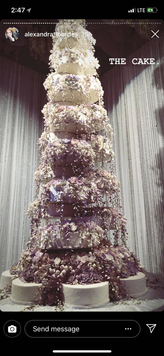 The wedding cake for the Kelley Fertitta-Tyler Nemiro wedding is shown on Saturday, Sept. 1, 20 ...