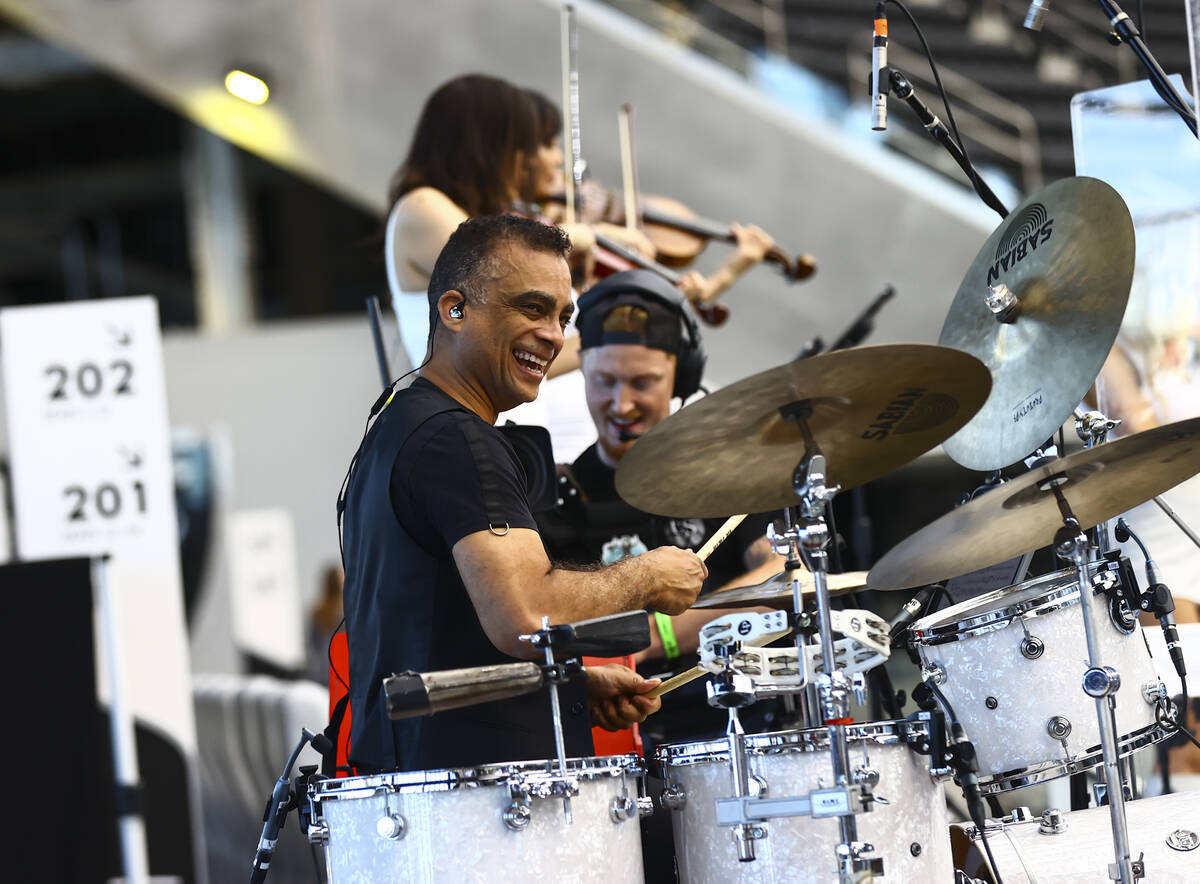 Pepe Jimenez of David Perrico's Pop Strings band perform at Allegiant Stadium in Las Vegas on M ...