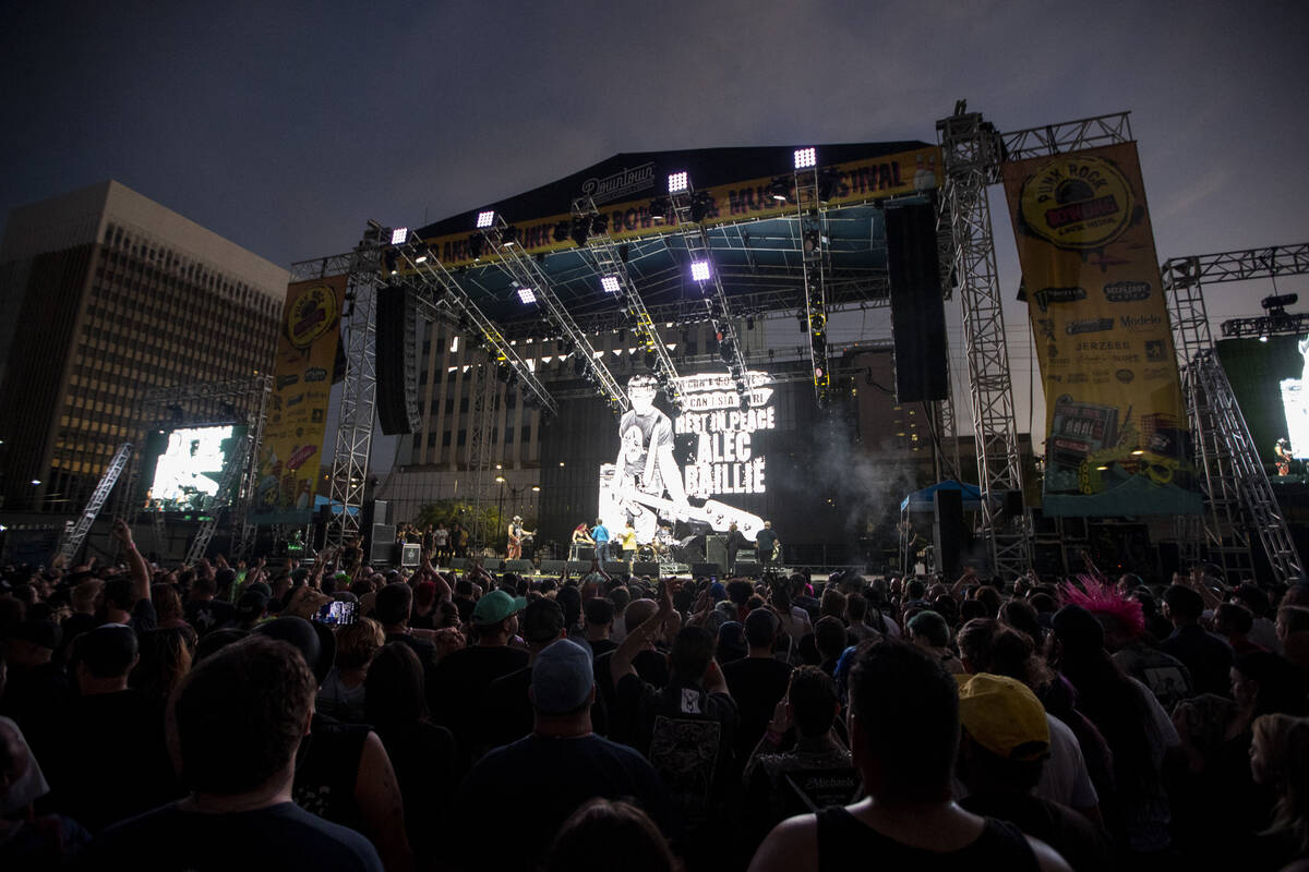 Leftover Crack performs during the Punk Rock Bowling Music Festival at the Downtown Las Vegas E ...