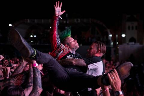 People listen to Streetlight Manifesto perform during the Punk Rock Bowling Music Festival at t ...