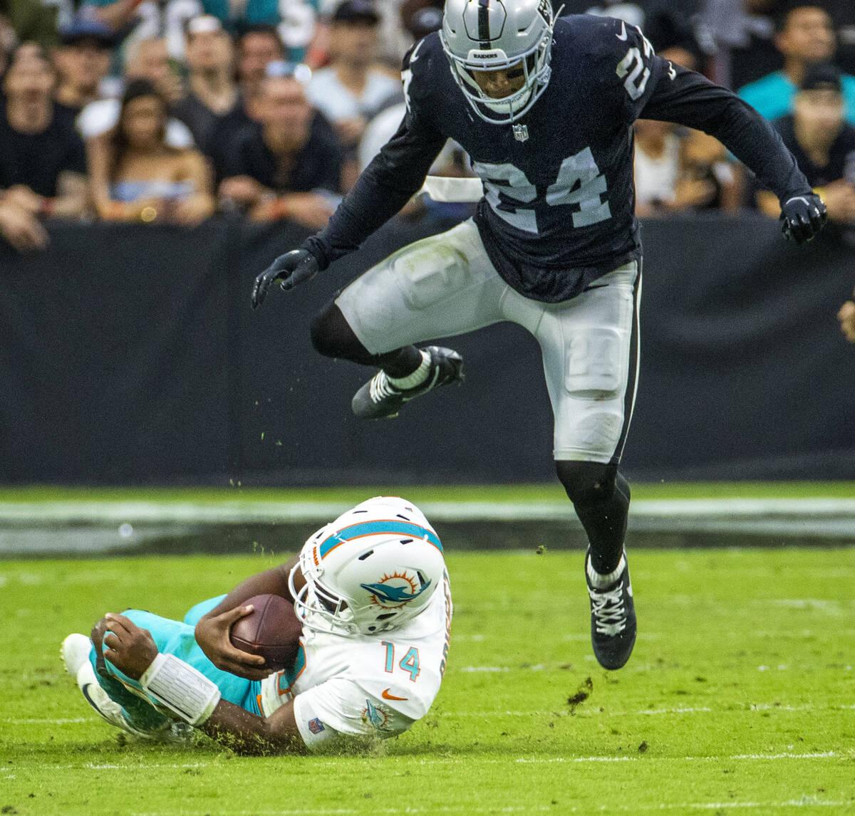 Miami Dolphins quarterback Jacoby Brissett (14) slides beneath Las Vegas Raiders defensive back ...