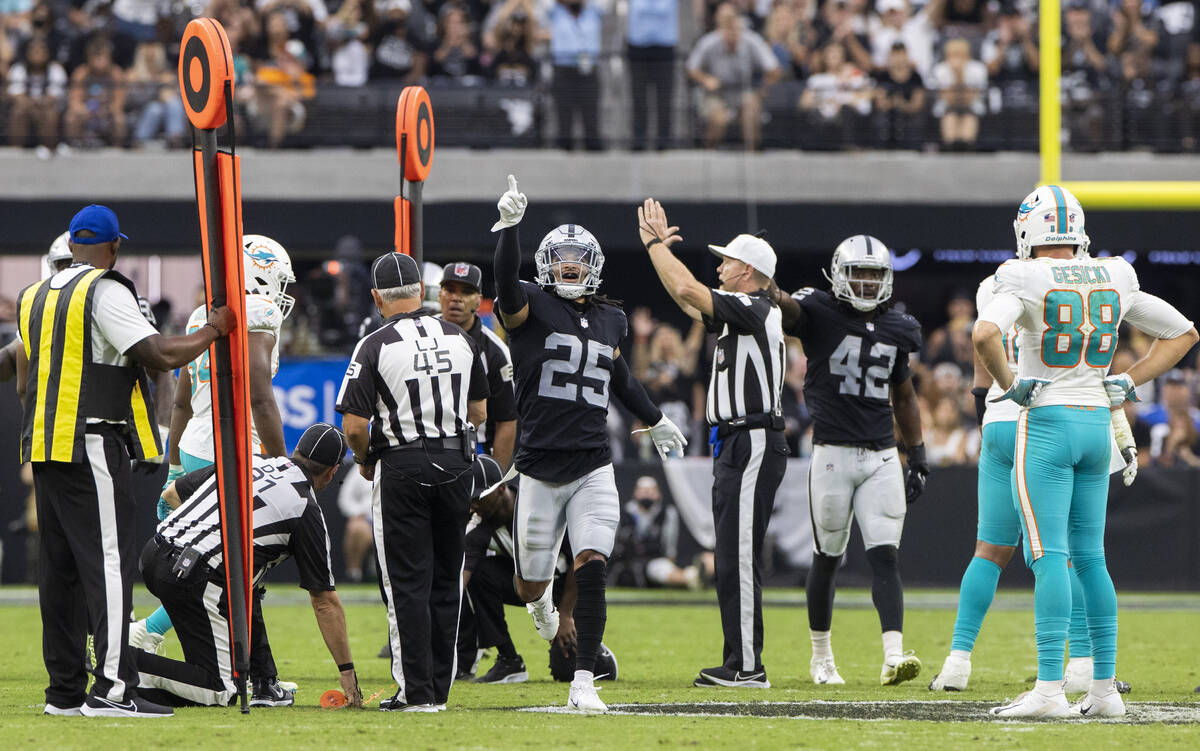 Las Vegas Raiders safety Trevon Moehrig (25) celebrates a big defensive stop in the second half ...