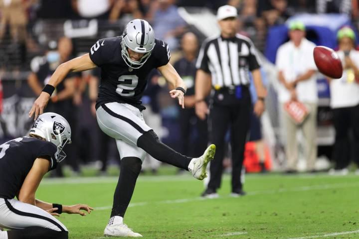Las Vegas Raiders kicker Daniel Carlson (2) kicks a field goal for the win in overtime in a NFL ...