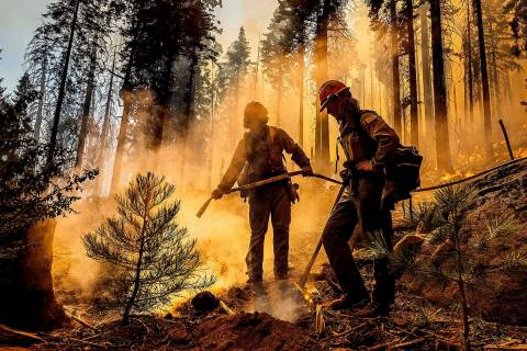 In this Sept. 19, 2021, file photo firefighter Austin Cia sprays water as the Windy Fire burns ...