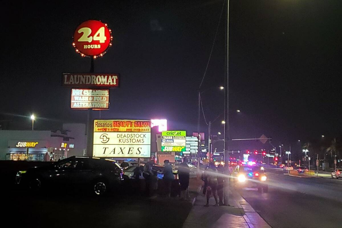 Police investigate a homicide in the 3500 block of South Maryland Parkway in Las Vegas on Monda ...