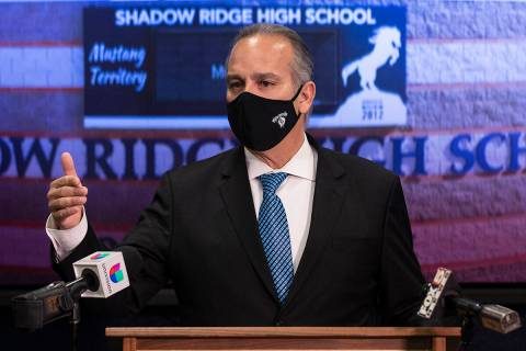 Superintendent Dr. Jesus Jara addresses the media after meeting with Shadow Ridge High School s ...