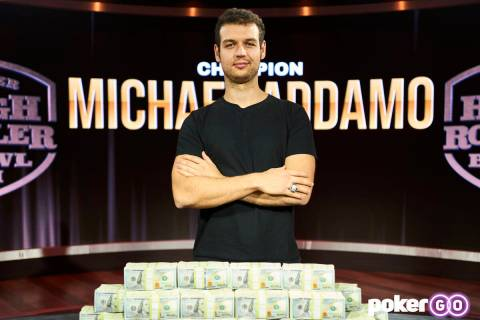 Michael Addamo after winning the Super High Roller Bowl on Wednesday, Sept. 29, 2021, at the Po ...