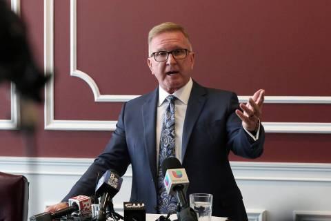 Attorney Robert Eglet speaks during a news conference on Oct. 3, 2019, in Las Vegas. (Bizuayehu ...
