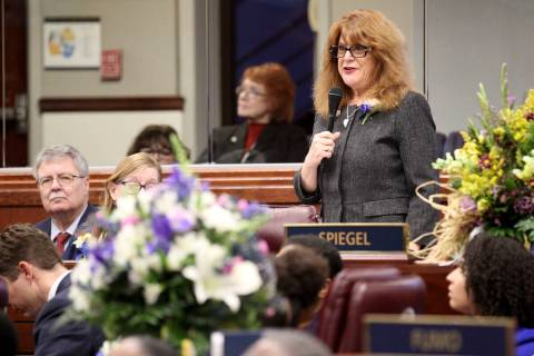 Former Assemblywoman Ellen Spiegel, D-Henderson, speaks on the Assembly floor in the Legislativ ...