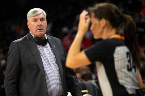 Las Vegas Aces head coach Bill Laimbeer expresses frustration with a referee's call during the ...