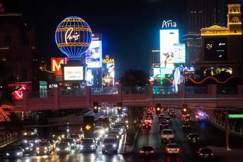 Traffic on Las Vegas Boulevard near Ballys and the Bellagio hotel-casino, on Saturday, July 10, ...