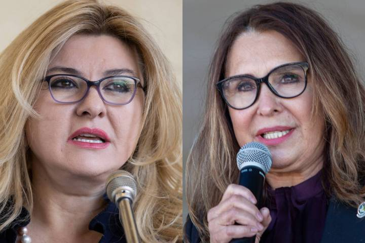 Las Vegas City Councilwomen Michele Fiore, left, and Victoria Seaman. The two have been in a hi ...