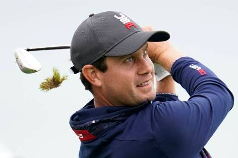Team USA's Harris English hits on the third hole during a practice day at the Ryder Cup at the ...