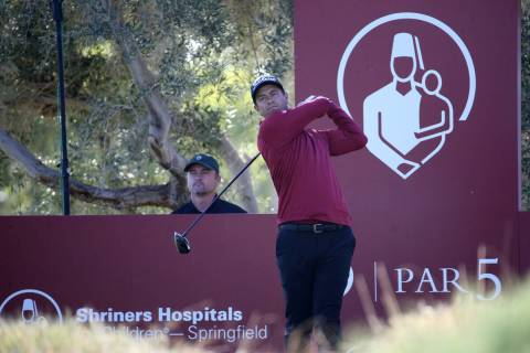 Adam Scott hits on the ninth tee during the Shriners Hospitals for Children Open Pro-Am at TPC ...