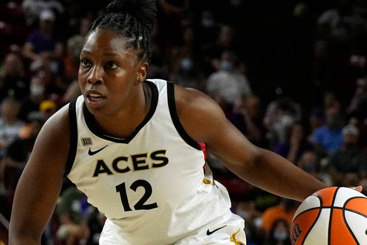 Las Vegas Aces guard Chelsea Gray (12) during the first half of a WNBA basketball game against ...