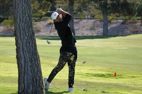 Brooks Koepka hits from the fairway on the 16th hole during the Shriners Children's Open ...