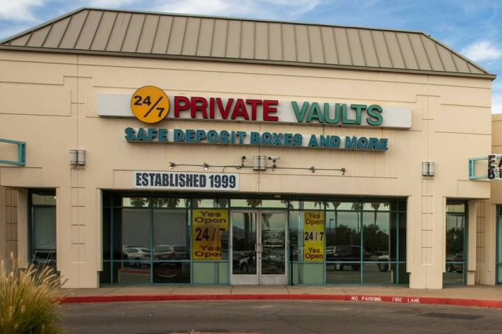 24/7 Private Vaults sits vacant on Jan. 28, 2020, in Las Vegas. (L.E. Baskow/Las Vegas Review-J ...