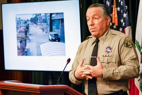 In this Sept. 17, 2020 file photo, Los Angeles County Sheriff Alex Villanueva comments on the i ...