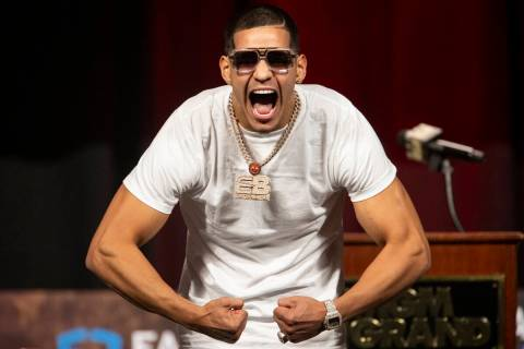 Edgar Berlanga poses during a press conference at the MGM Grand Garden Arena in Las Vegas, Thur ...