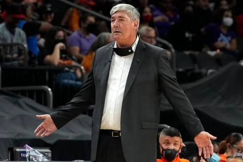 Las Vegas Aces head coach Bill Laimbeer reacts during the second half of game 4 of a WNBA baske ...