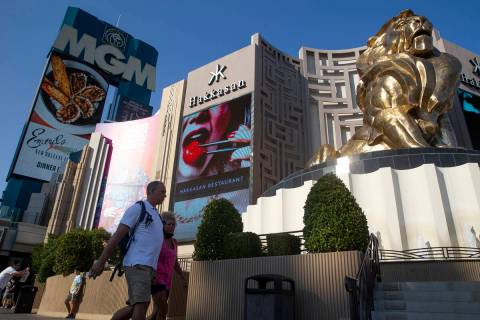 Visitors to the Las Vegas Strip pass MGM Grand in August 2021. (Ellen Schmidt/Las Vegas Review- ...