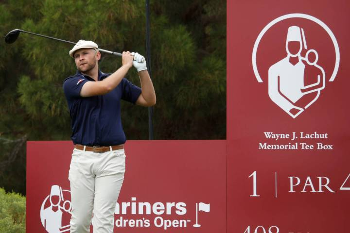 Harry Hall tees off on the first hole during the third round of the Shriners Hospitals for Chil ...