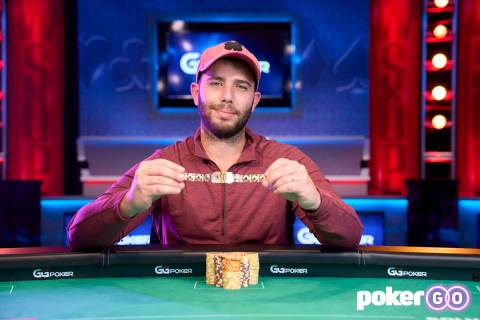 Daniel Lazrus after winning the $1,500 buy-in Millionaire Maker at the World Series of Poker on ...