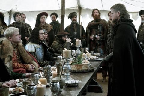 Ben Affleck, left, as Count Pierre d'Alencon, Adam Driver, second from left, as Jacques Le Gr ...