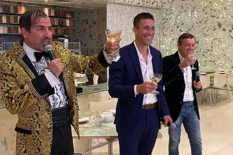 The Gazillionaire, left, Caesars Entertainment President and CEO Anthony Carano and Spiegelworl ...