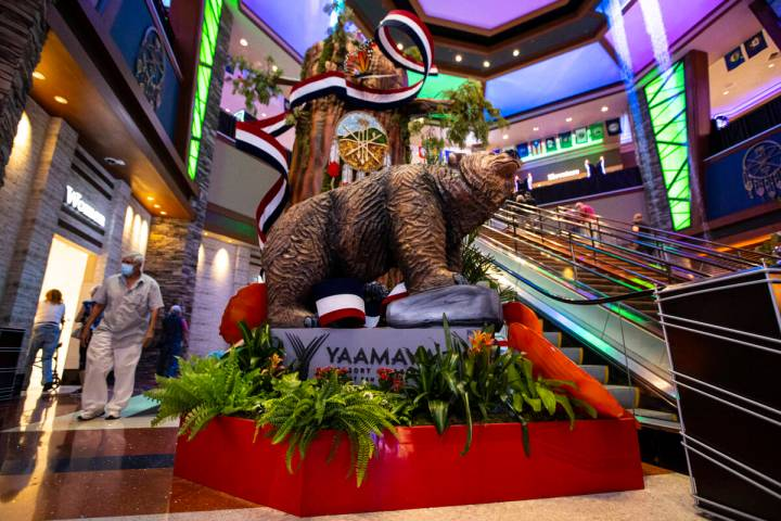 Signage and decor is seen during a tour of the Yaamava' Resort & Casino, formerly the San M ...