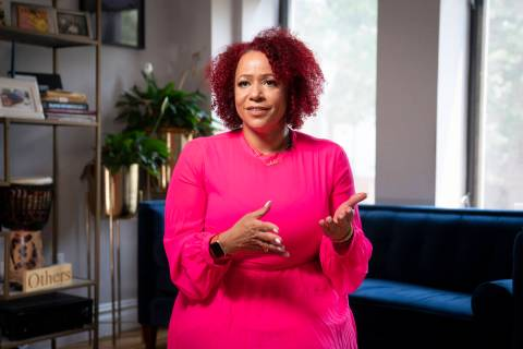 Nikole Hannah-Jones is interviewed at her home in the Brooklyn borough of New York, Tuesday, Ju ...