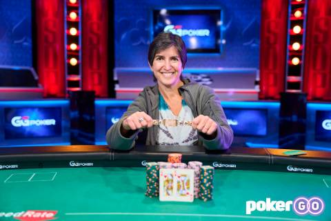 Lara Eisenberg after winning the $1,000 buy-in Ladies No-limit Hold'em Championship at the Worl ...