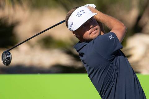 Keith Mitchell hits the ball from the ninth tee box during the second round of the CJ Cup golf ...
