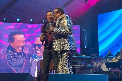 Smokey Robinson and Charlie Wilson are shown at the 25th Keep Memory Alive gala at Resorts Worl ...