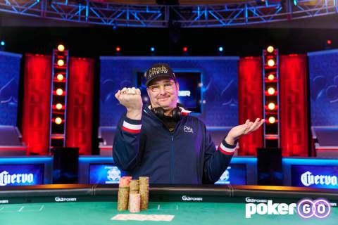 Phil Hellmuth after winning his 16th World Series of Poker bracelet in the $1,500 buy-in No-lim ...