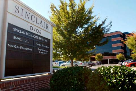 In this Oct. 12, 2004, file photo, Sinclair Broadcast Group, Inc.'s headquarters stands in Hunt ...