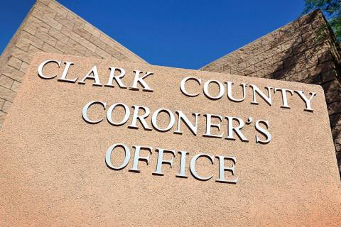 The monument sign for the Clark County Coroner. (Las Vegas Review-Journal)