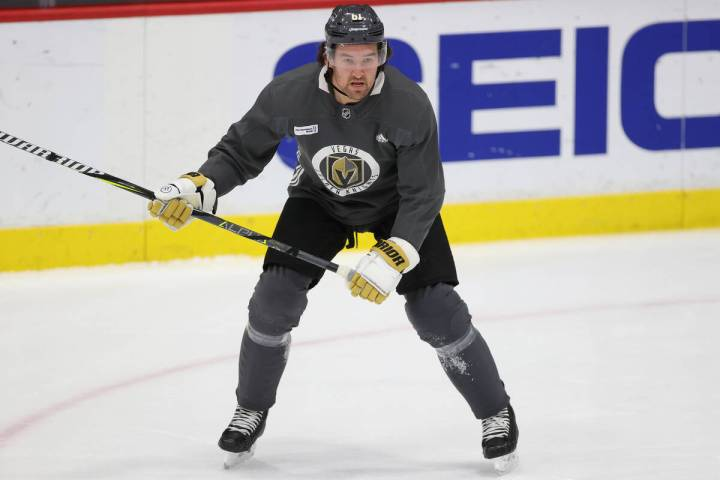 Vegas Golden Knights right wing Mark Stone (61) during a team practice at City National Arena i ...