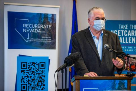 Governor Steve Sisolak speaks at the conclusion of the Nevada Recovers Listening Tour from the ...