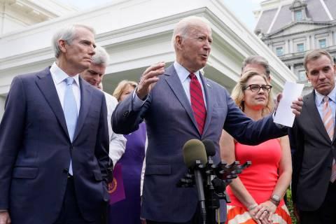 President Joe Biden, with a bipartisan group of senators, speaks Thursday June 24, 2021, outsid ...