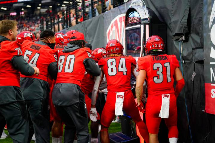 UNLV brought out a slot machine in Saturday's 28-24 loss to Utah State at Allegiant Stadium. Pl ...