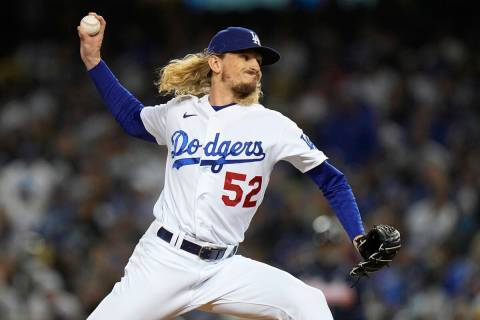 Los Angeles Dodgers pitcher Phil Bickford throws during the sixth inning against the Atlanta Br ...