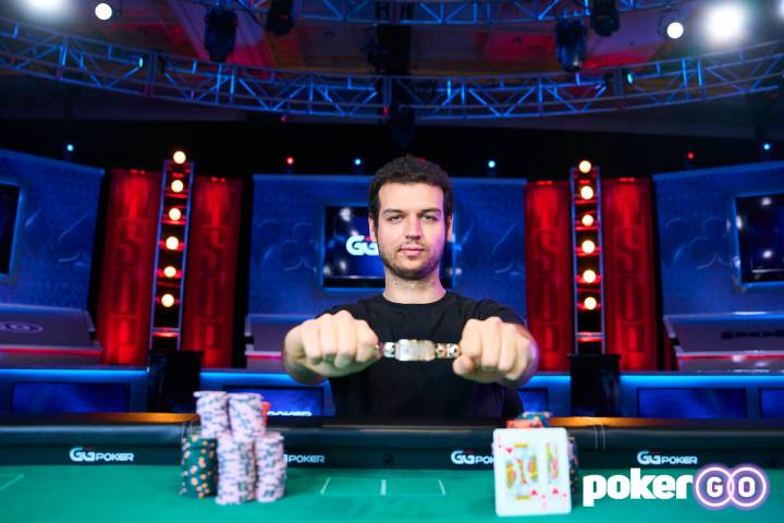 Michael Addamo after winning the $50,000 buy-in High Roller No-limit Hold'em eight-handed event ...